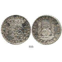 Mexico City, Mexico, pillar 8 reales, Philip V, 1742MF. KM-103; CT-793. 26.6 grams. UNC details with