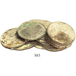 Clump of about 15 Spanish colonial bust 2 reales.  120 grams, 3  long. Fairly tight  pile  (several