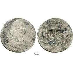 Santiago, Chile, bust 8 reales, Charles IV, 1793DA. KM-51; CT-738. 22.2 grams. Moderately corroded b