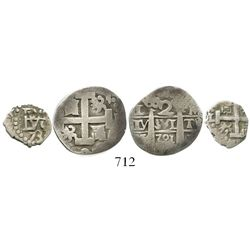 Lot of 2 Lima, Peru, silver cob minors of Philip V; 2R 1721M and 1/2R 1733.  4.9 grams total. The 2R