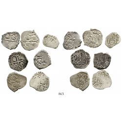 Lot of 7 Potosi, Bolivia, cob 1R of Charles II, various dates, assayers E (1) and VR (6). KM-23. 17.