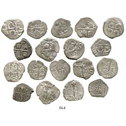Lot of 9 Potosi, Bolivia, cob 1R of Charles II, various dates, 4 different assayers. KM-23. 19.9 gra