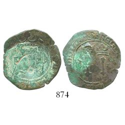 Santo Domingo, Dominican Republic, copper 4 maravedis, Charles-Joanna, assayer F, with (full) anchor