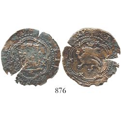 Santo Domingo, Dominican Republic, copper 4 maravedis, Philip II, assayer X, extremely rare. S-SD2;