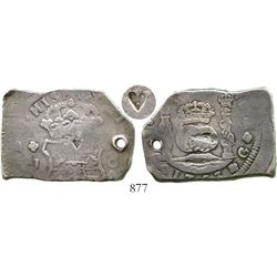 Guatemala, cob 8 reales, 1753J, with small heart countermark. S-G1a; KM-12; CT-285. 26.8 grams. Typi
