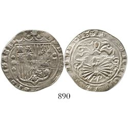 Granada, Spain, 2 reales, Ferdinand-Isabel, mintmark G to left of shield, assayer R to right of arro