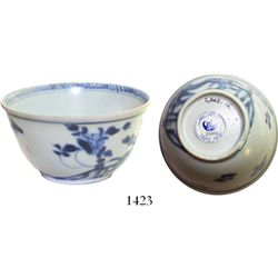 Chinese blue-on-white porcelain teacup, K'angxi, floral design, intact.  43.2 grams, 2-3/4  in diame