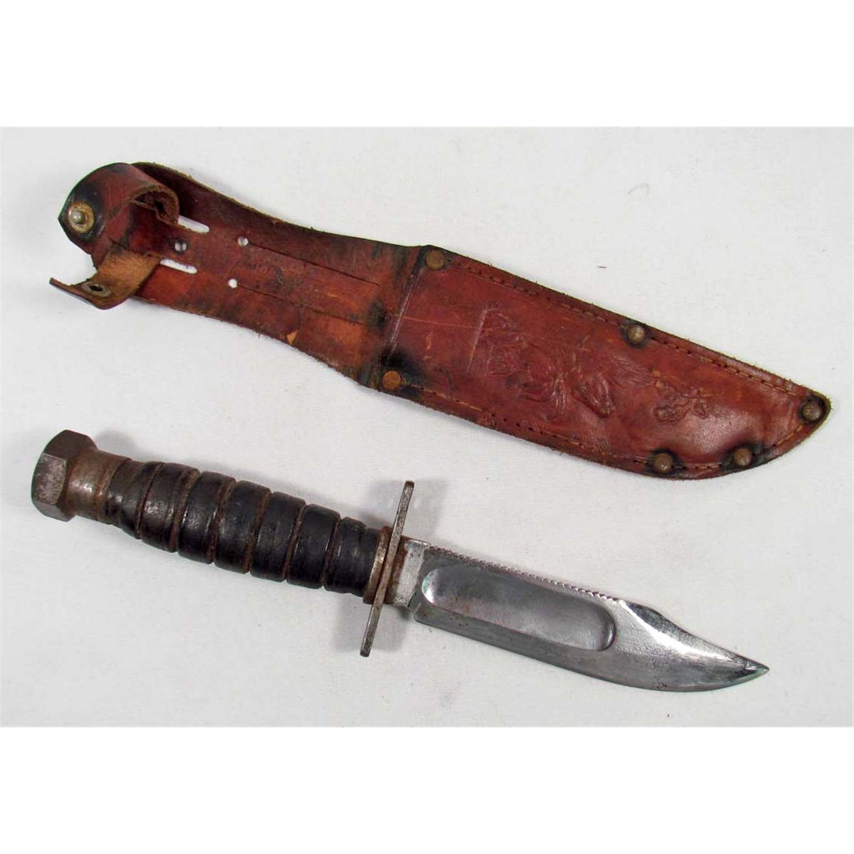 US ARMY MILITARY COMBAT SURVIVAL KNIFE W/ LEATHER SCABBARD