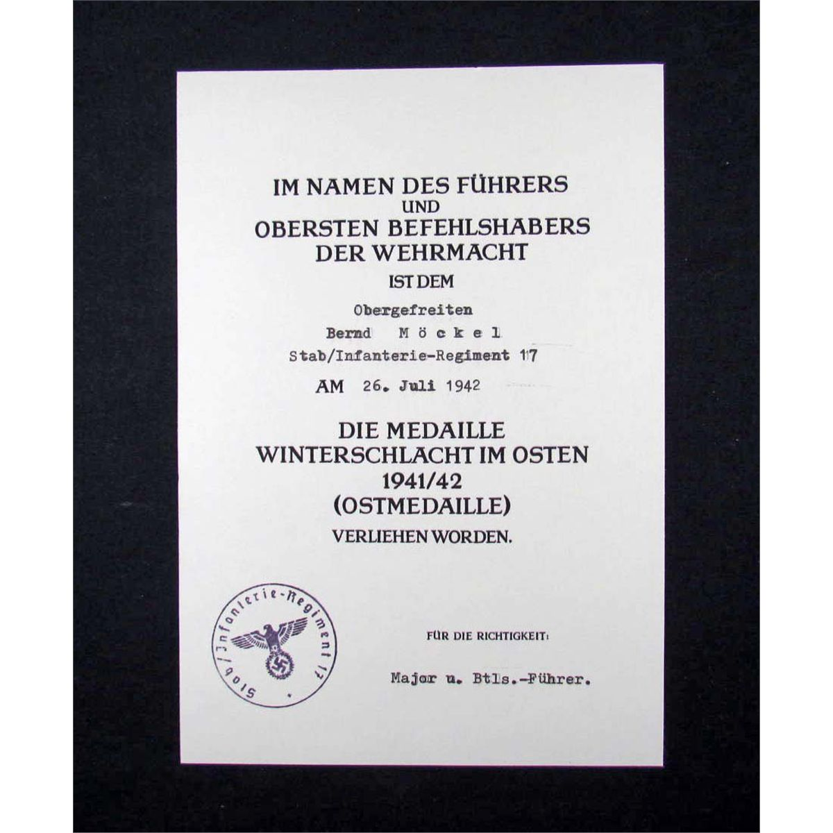 German Nazi Document For The Nazi Eastern Front Medal