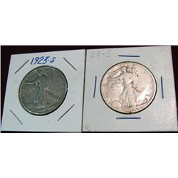 1592. 1923 S & 29 S Walking Liberty Half Dollars. VG-8.