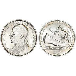 Italy. Vatican. Pope Pius XII (1939-1958). Silver 5 Lire 1940. Choice UNC