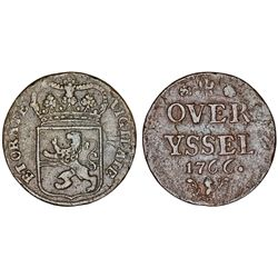 Netherlands. Overyssel.  AE Duit  1766. XF