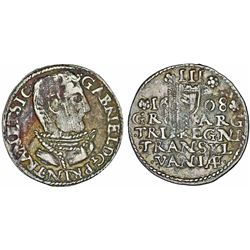 Transylvania. Duke Gabriel Bathori (1608-1613). Scarce Silver Gross 1608 NB. Choice VF