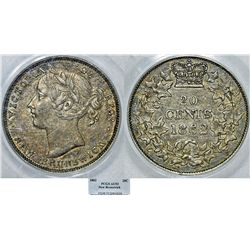 Canada. New Brunswick. Queen Victoria II (1840-1901).  AR 20 Cents 1862. PCGS AU53, toned.
