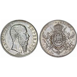 Mexico. Empire of Maximilian (1864-1867). AR Peso 1866 Mo. XF
