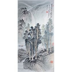 Chinese Watercolour: Landscape & Waterfall