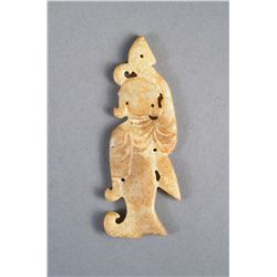 Archaistic Chinese Jade Pendant of Woman