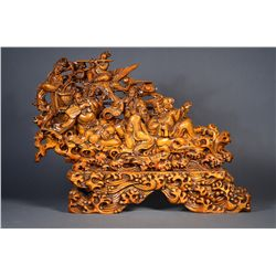Chinese Wood Carved Boulder Eight Daoist Immortals