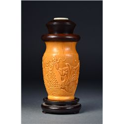 Chinese Carved Cricket Gourd Cage