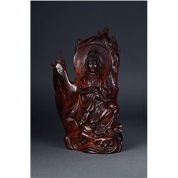Finely Carved Chinese Huanghuali Guanyin