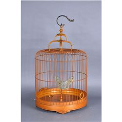 Chinese Carved Bamboo Bird Cage