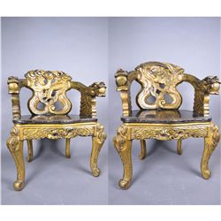Pair Chinese Chairs Dragon & Phoenix