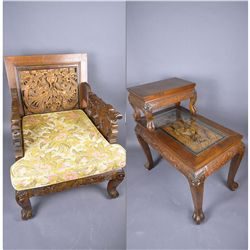 Set of 2: Chinese Carved Chair & Table