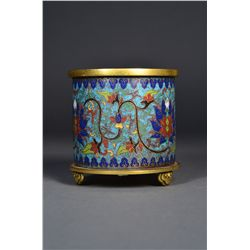 Chinese Cloisonne Bush Pot Qianlong