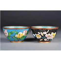 Set of 2 Chinese Bronze Cloisonne Bowls