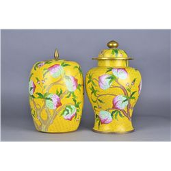 Pair 19th C. Cloisonne Imperial Yellow Vases