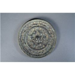 Chinese Tang Lion & Grapevine Bronze Mirror