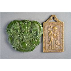 Set 2 Chinese Bronze Pendant & Green Jade Pendant