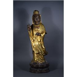 Large Chinese Gilt Bronze Figure of Guanyin