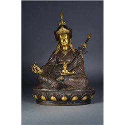 Tibetan Gilt Bronze Figure of Padmasambhava