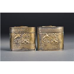 Pair of Chinese Silver Medicine Box