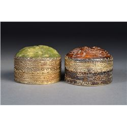 Pair Chinese Cosmetic Silver Box with Jade