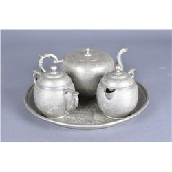 4 PCs Chinese Pewter Tea Set Huikee Pewter Swatow