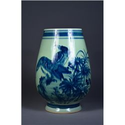 Chinese Celadon Jar with Blue & Red Eagle Designs