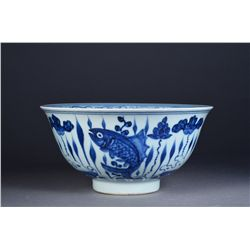 Chinese Blue & White Bowl Fish Motif