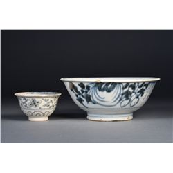 Set of Two Chinese Ming Blue & White Bowls
