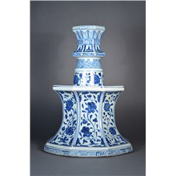 Chinese Blue & White Candle Holder