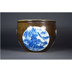 Chinese Fish Bowl Blue & White Landscape Minguo