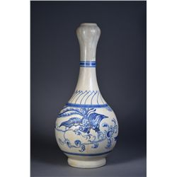 Chinese Blue & White Garlic Bulb Phoenix Vase