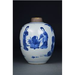Chinese Blue & White Porcelain Ginger Jar Kangxi
