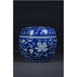 Chinese Blue & White Ginger Jar Double Ring Mark
