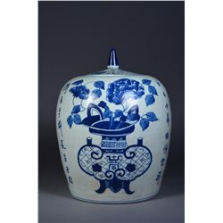 Chinese BW Shou Ginger Jar Enameled Poem