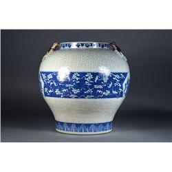 Chinese Blue & White Jar Figural Immortal Scene