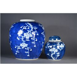 Set of 2: Chinese Blue & White Ginger Jars