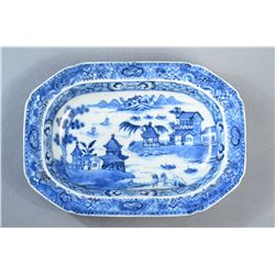 18th C. Chinese Export Blue & White Figural Plate