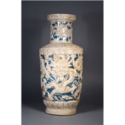 Chinese Blue & White Rouleaux Vase Qianlong